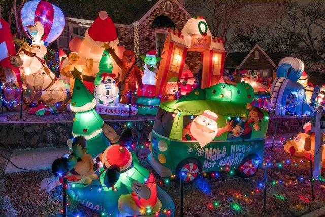 ink happs tacky light tour santas - Tacky Christmas